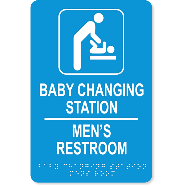 """Baby Changing Station Men's Room Sign with Braille   9"""" x 6"""""""