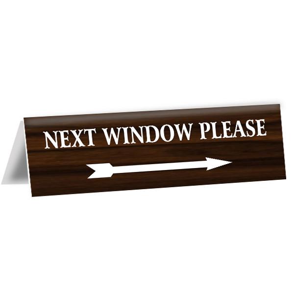 "Next Window Bank Teller Engraved Counter Bent Sign   2"" x 8"""