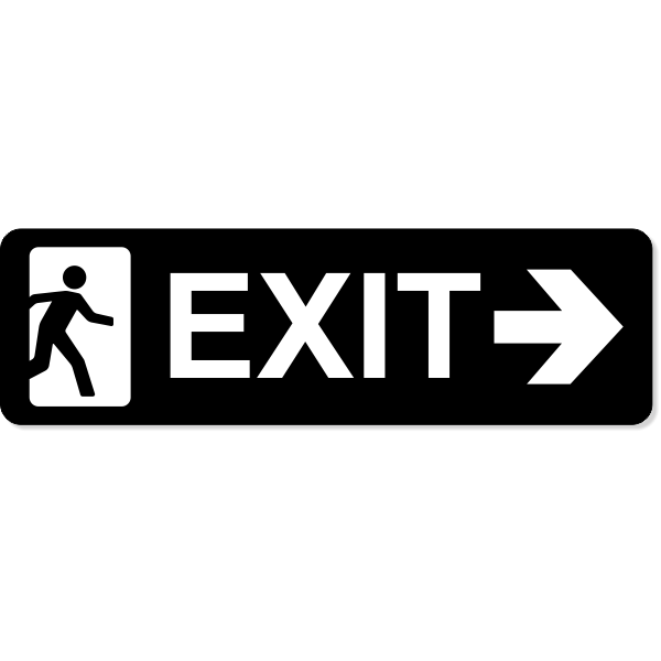 """Exit Right Sign   3"""" x 10"""""""