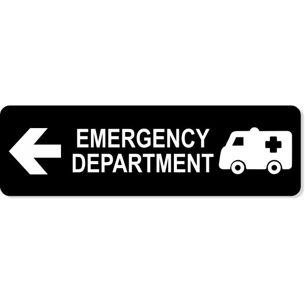 "Emergency Department Left Sign   3"" x 10"""
