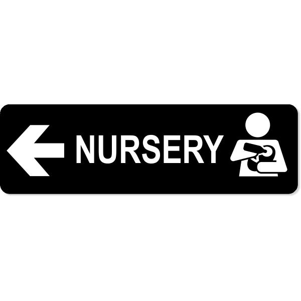 "Nursery Left Sign   3"" x 10"""