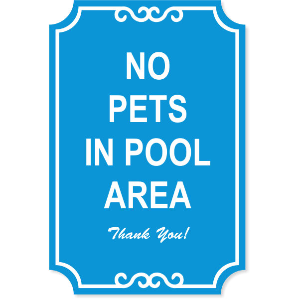 """Pets in Pool Engraved Plastic Sign 