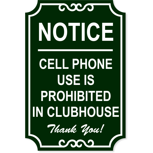 """Cell Phone Ornate Engraved Plastic Sign   18"""" x 12"""""""