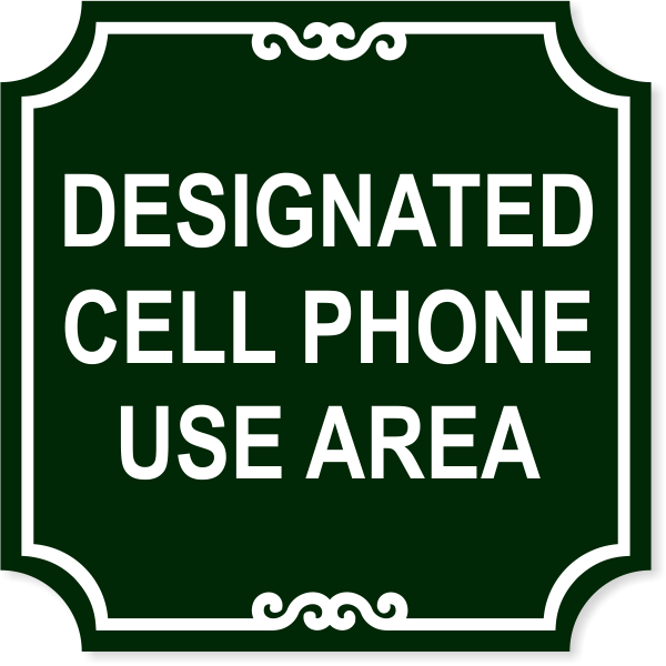"""Ornate Cell Phone Area Engraved Plastic Sign   12"""" x 12"""""""