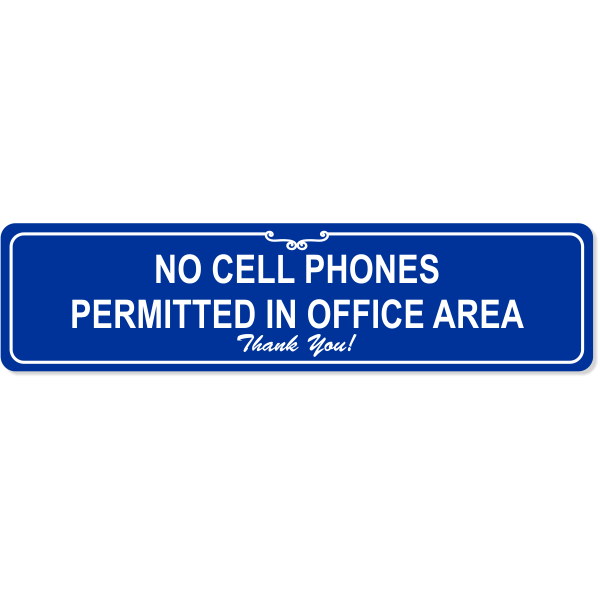 """Office No Cell Phone Sign   Engraved Plastic   2"""" x 8"""""""