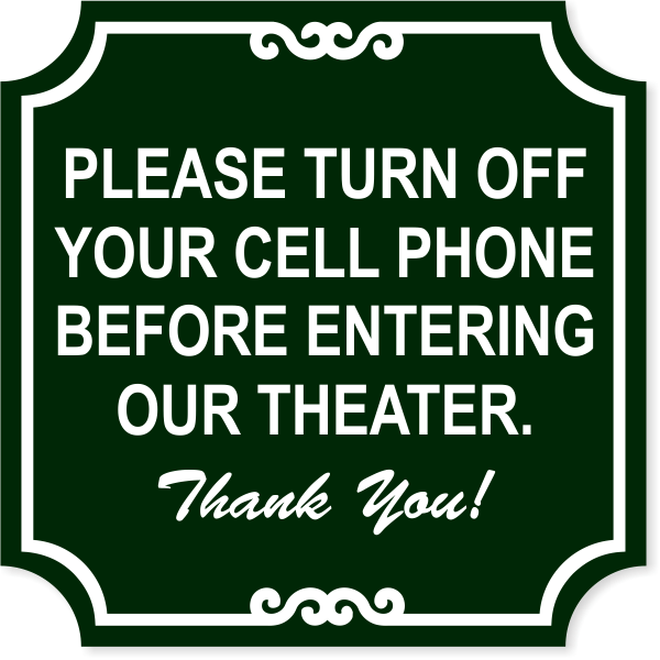 """Ornate Theater Phone Engraved Plastic Sign   12"""" x 12"""""""