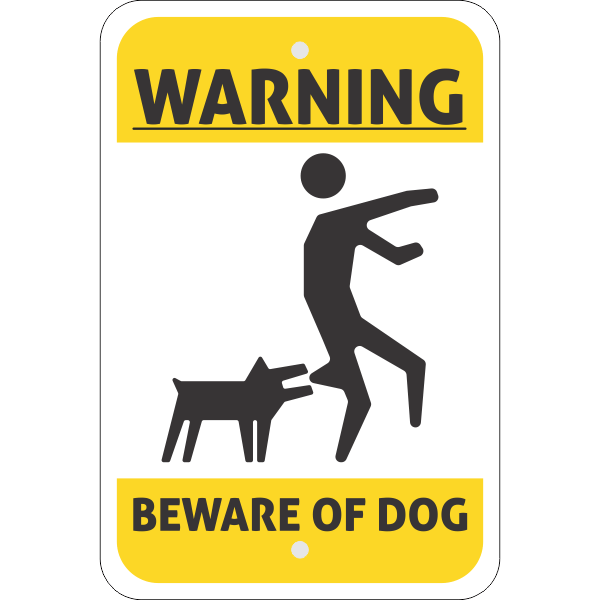 Illustrated Beware of Dog Vertical Sign
