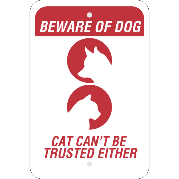 Beware of Dog and Cat Vertical Sign
