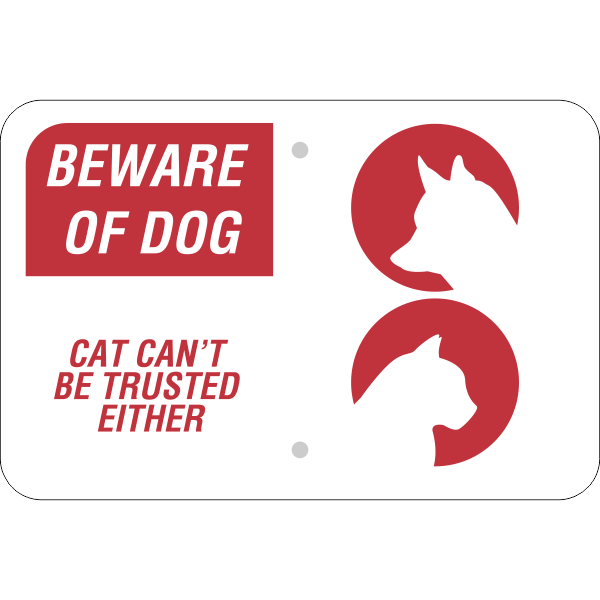 Beware of Dog and Cat Horizontal Sign