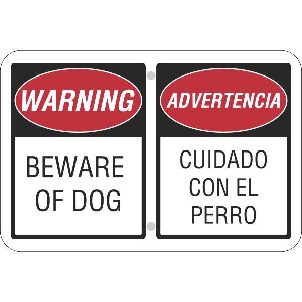 "Bilingual Beware of Dog Aluminum Sign | 12"" x 18"""