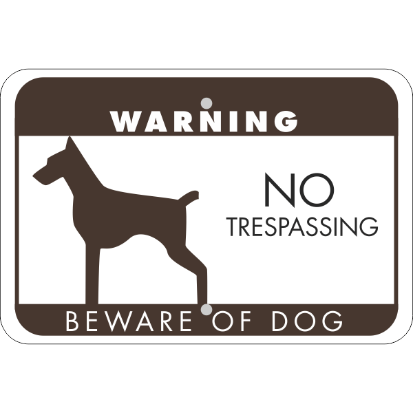 No Trespassing Beware of Dog Horizontal Sign