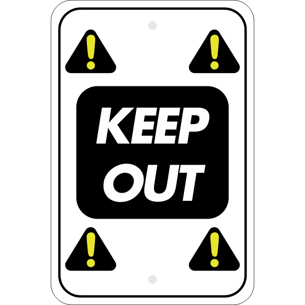 Vertical Repeated Icon Keep Out Sign