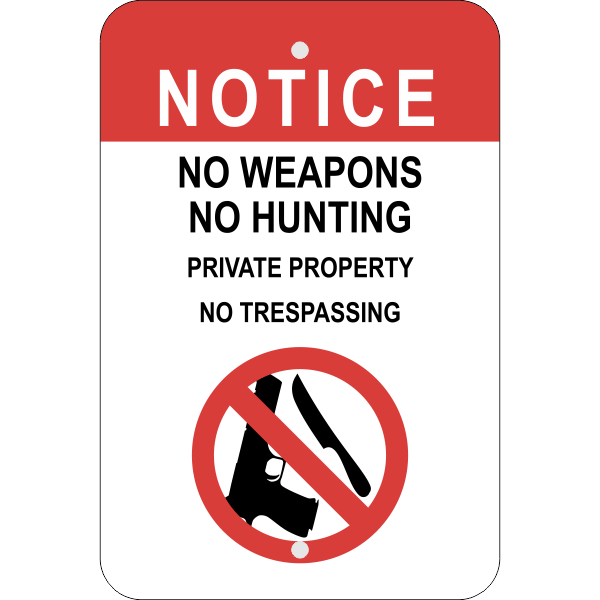 Vertical No Weapons or Hunting Sign
