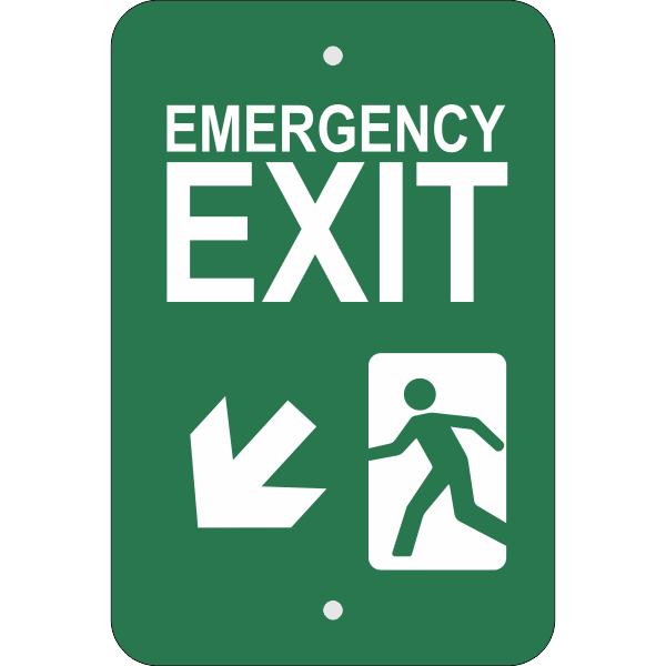 Vertical Down Left Arrow Emergency Exit Sign