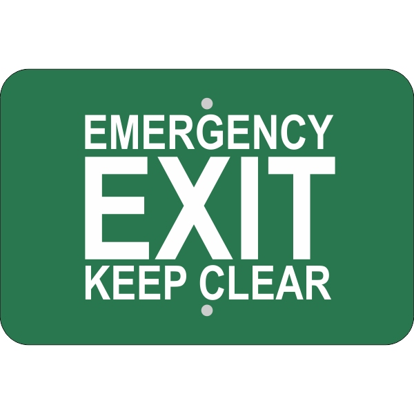 Horizontal Keep Clear Emergency Exit Sign