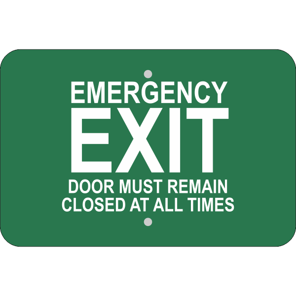 Horizontal Keep Closed Emergency Exit Sign