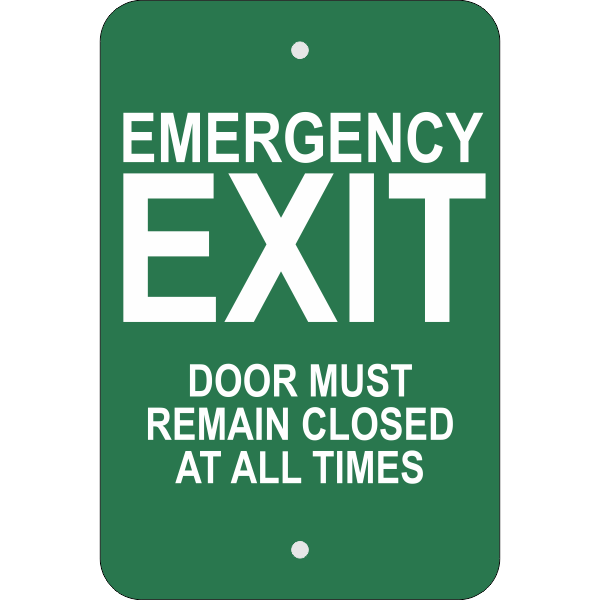 Vertical Keep Closed Emergency Exit Sign