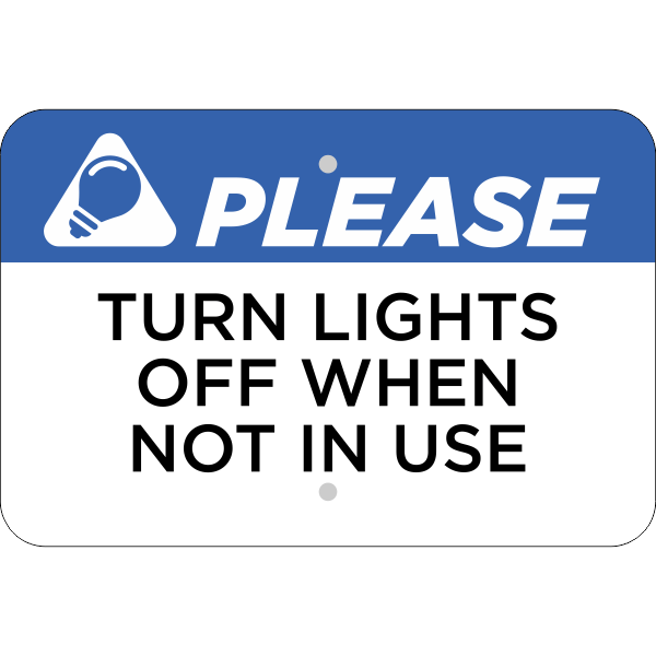 Horizontal Lights Off Conserve Energy Sign