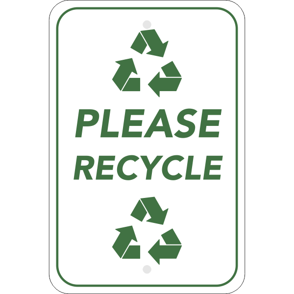 Vertical Please Recycle Sign