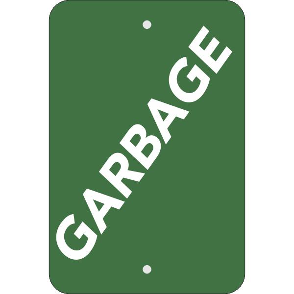 Vertical Green Garbage Sign