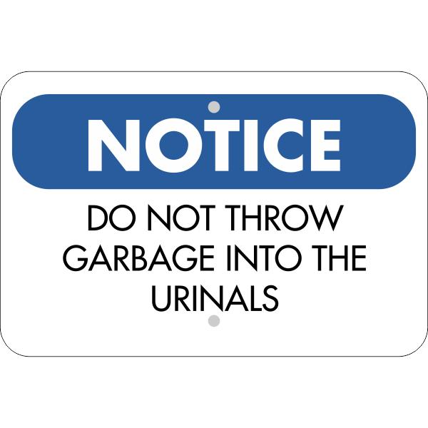 Horizontal No Garbage in Urinals Sign