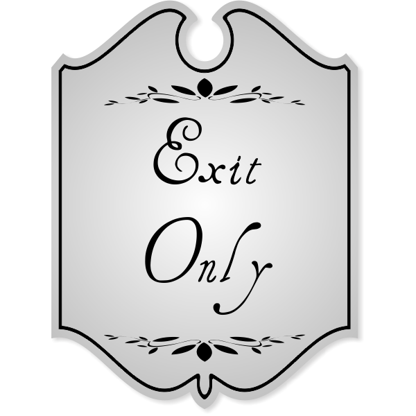 Shield Exit Only Engraved Sign with Leaf Style