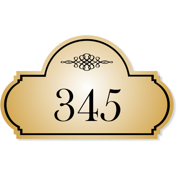 """Engraved Room Number Sign Triple Dome Shape   3"""" x 5"""""""