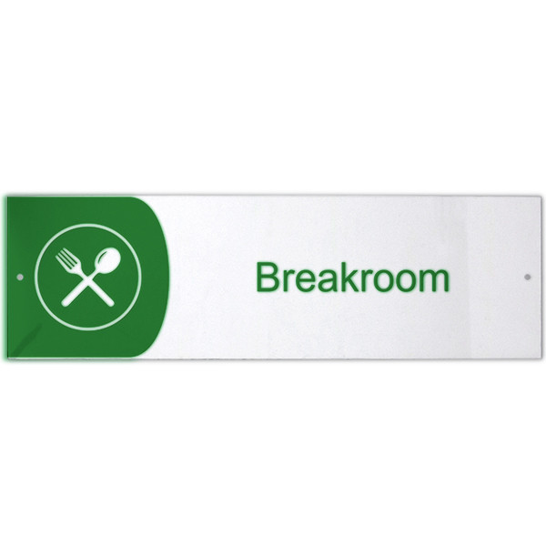 """Breakroom Icon Acrylic Print Sign - 3"""" x 10"""""""