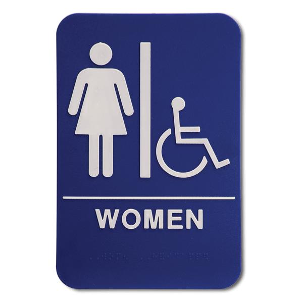 "Blue Women's Handicap ADA Braille Restroom Sign   9"" x 6"""