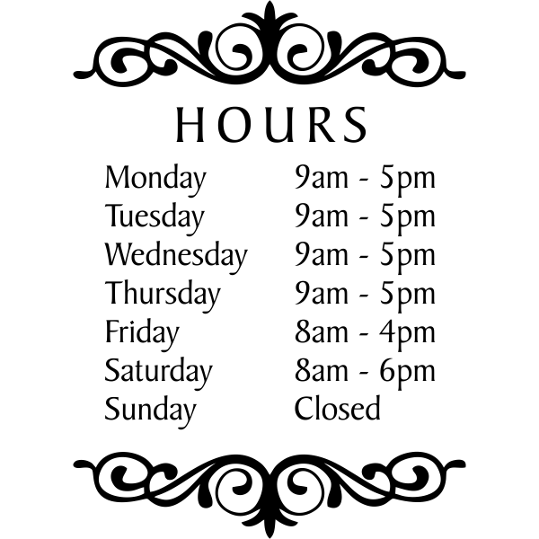 """Baker Die Cut Hours of Operation Decal 