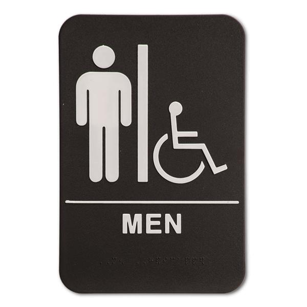 "Black Men's Handicap ADA Braille Restroom Sign   9"" x 6"""