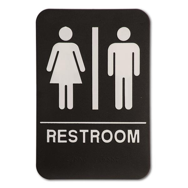 "Black Unisex ADA Braille Restroom Sign | 9"" x 6"""
