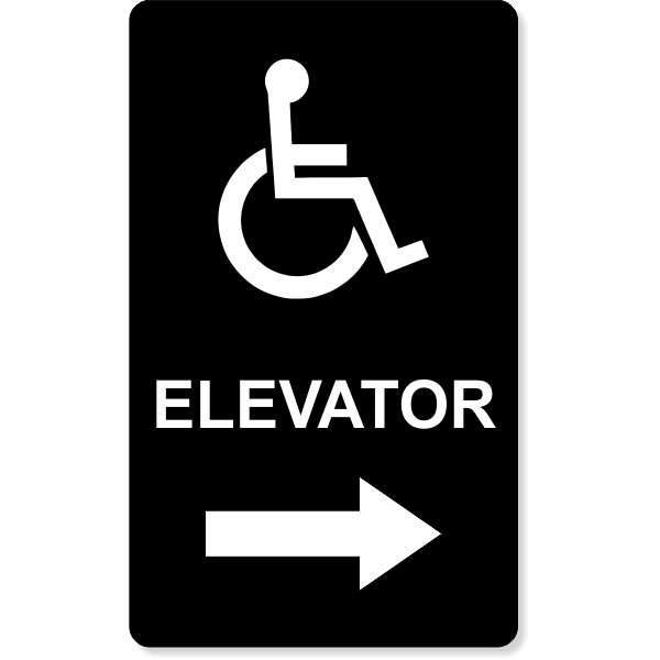 "Handicap Elevator Arrow Engraved Plastic Sign   10"" x 6"""