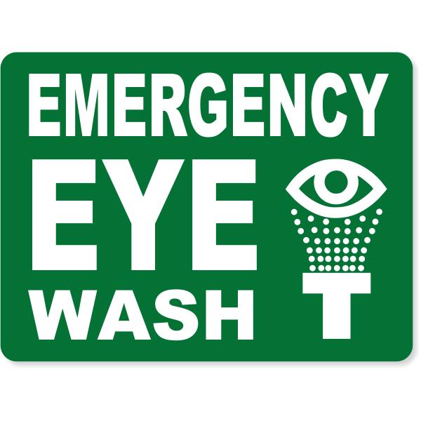 "Emergency Eye Wash Engraved Plastic Sign | 6"" x 8"""