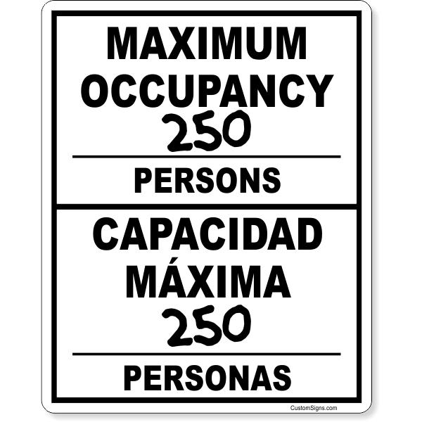 "Bilingual Maximum Occupancy Write On Sign | 10"" x 8"""