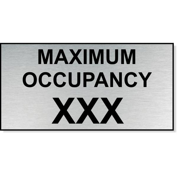 "Maximum Occupancy Engraved Plastic Sign | 4"" x 8"""