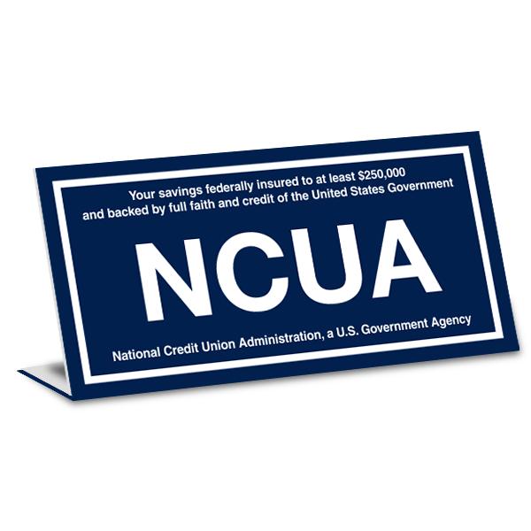 "NCUA Engraved Plastic Bent Sign | 4"" x 8"""