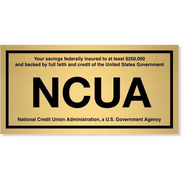"NCUA Engraved Brass Wall Plate   4"" x 8"""