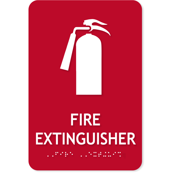 """ADA Fire Extinguisher Icon Sign   9"""" x 6"""""""
