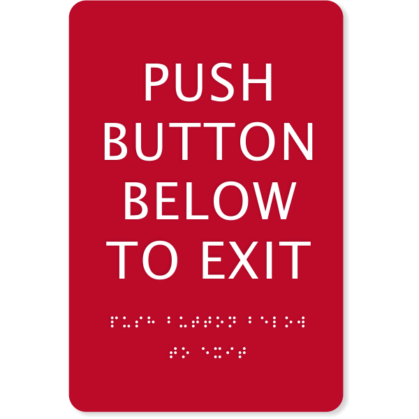 ADA Braille Push Button Exit Sign