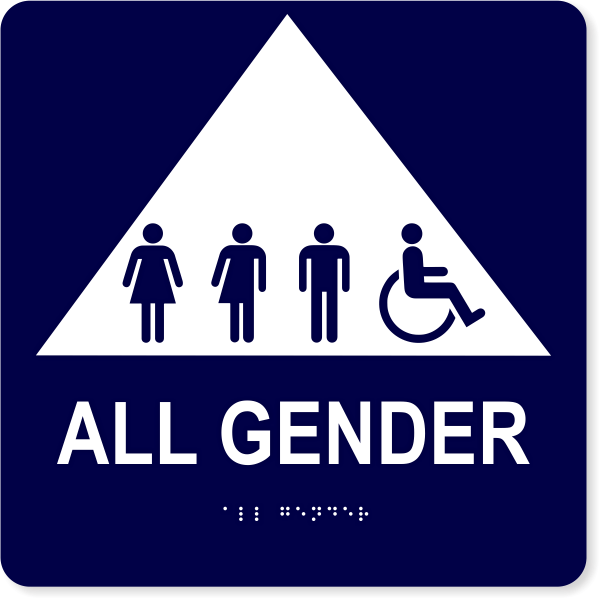 """All Gender Triangle with Symbols - ADA Tactile Sign   10"""" x 10"""""""