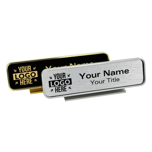 Executive Desk Nameplate Holder with Engraved Insert (Rounded Corners)  2 in x 8 in