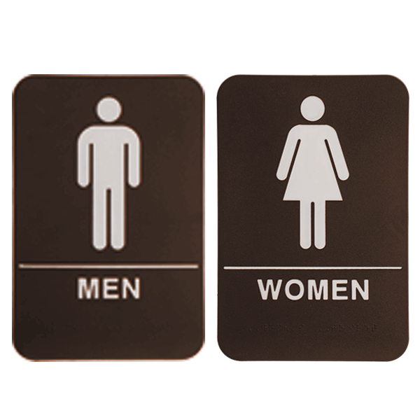"""Brown ADA Braille Men's & Women's Restroom Sign Set   9"""" x 6"""""""
