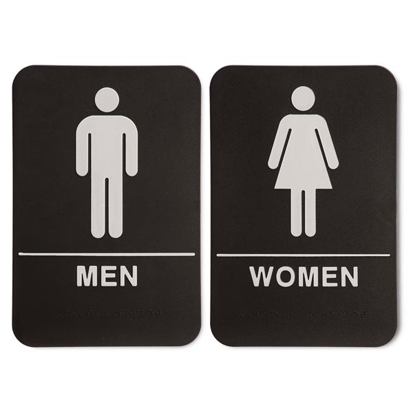 ADA Braille Men's and Women's Restroom Sign Set 6 in x 9 in Black