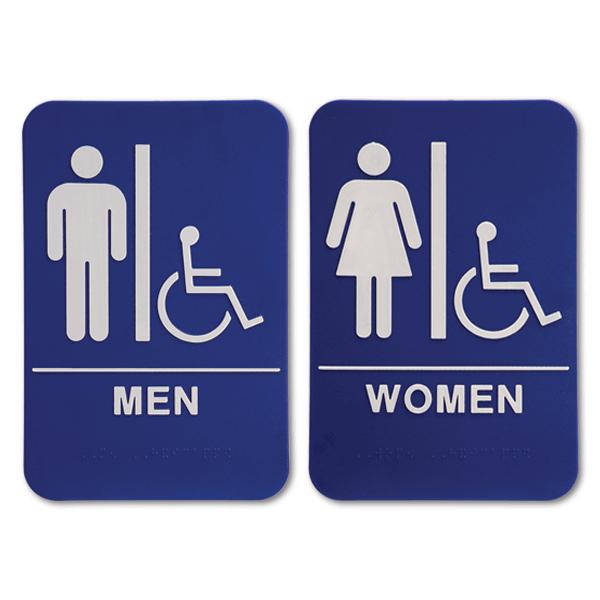 "Blue ADA Braille Men's & Women's Handicap Restroom Sign Set   9"" x 6"""