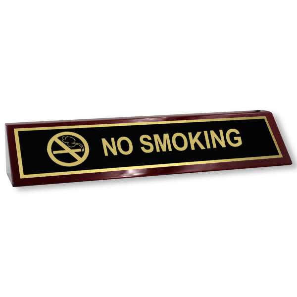 No Smoking Wood Desk Block