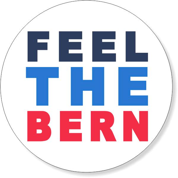 "4"" Round Feel The Bern Bumper Sticker"