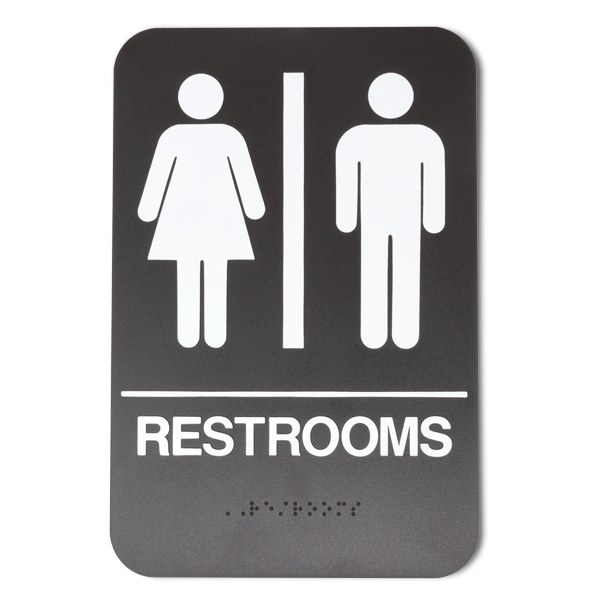 """Brown Unisex ADA Braille Restrooms Sign   9"""" x 6"""""""