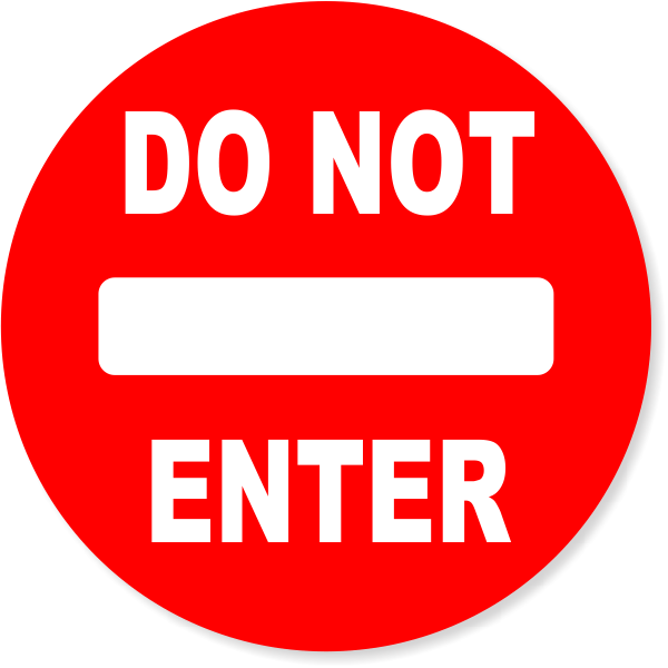 """6"""" Round Red Do Not Enter Decal"""