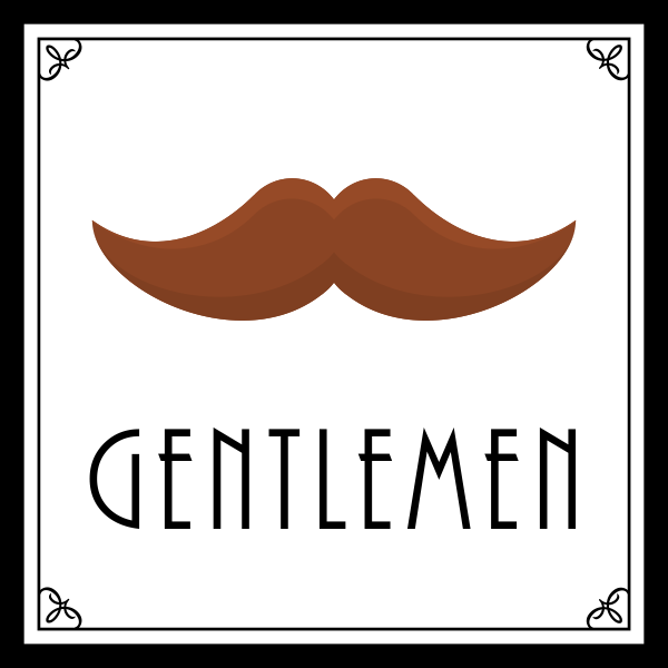 Custom Square Full Color Art Deco Men's Bathroom Sign